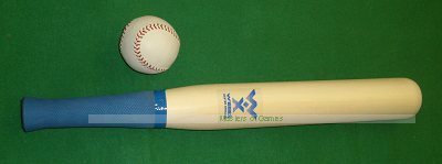 Willow Rounders bat with rubber grip and Leather match ball