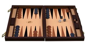 Italfama Luxury Brown Leatherette 14.5-inch Compact Backgammon Set