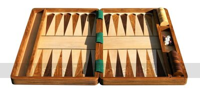 Italfama Inlaid Wooden Folding Backgammon Set
