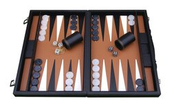 Italfama Leatherette Backgammon Case - Black & Orange