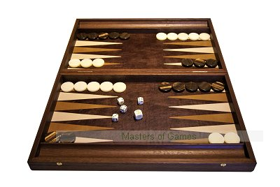 Manopoulos Antique Brown Leatherette Backgammon Set
