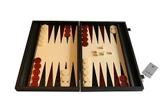 Manopoulos Black Embossed Leatherette Backgammon Set