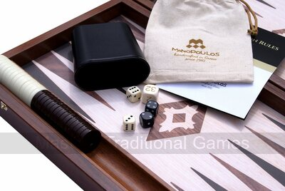 Manopoulos Compact Wooden Backgammon Set (with side racks)