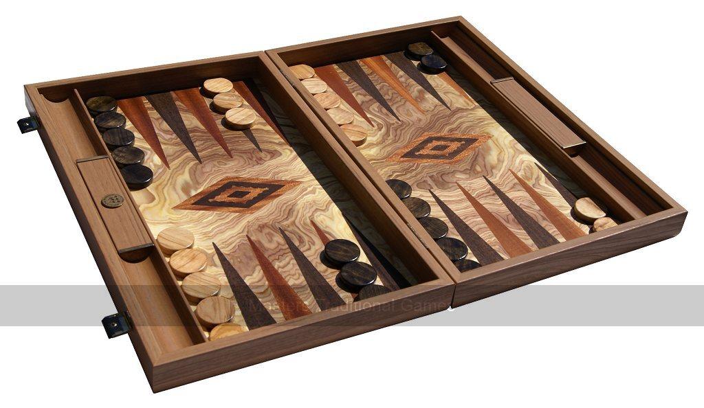 Manopoulos Luxury Olive Burl Backgammon Set
