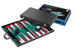 Tournament Backgammon Set - Briefcase Style, Green Surface