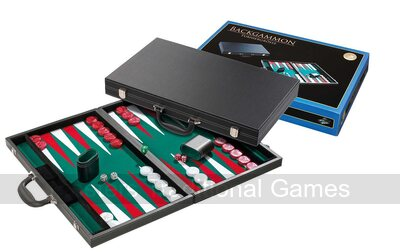 Tournament size Backgammon Set - briefcase style, green surface
