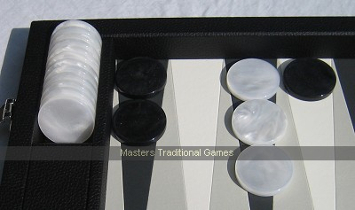 Dal Negro 30 Backgammon pieces - black & white mother-of-pearl effect disks (44mm)