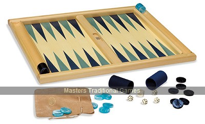 Dal Negro Atene Tournament Backgammon Set - Light & Dark Blue