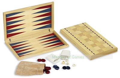 Dal Negro Maple Itaca Backgammon Set - Red & Blue
