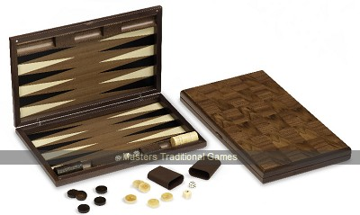 Dal Negro London Walnut Backgammon Set - Inlaid playing surface