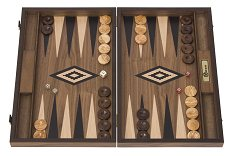 Uber Walnut Backgammon Set - Black