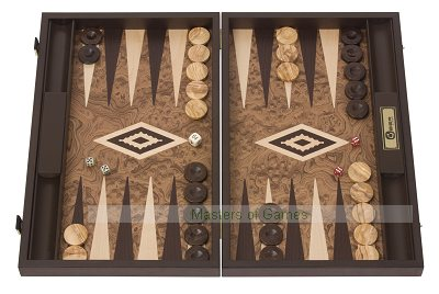 Uber Walnut Burl Backgammon Set