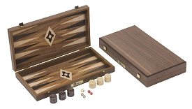 Uber Compact Walnut Faced Backgammon Set