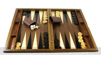 Dal Negro York Walnut Backgammon Set
