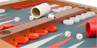 Dal Negro set of 30 Backgammon pieces (red & greyish white disks 44mm)