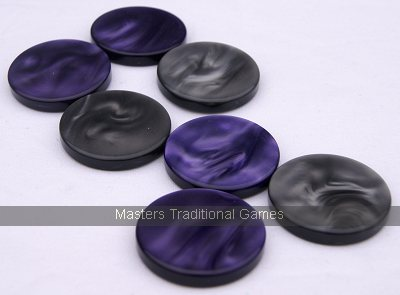 Dal Negro set of 30 Backgammon pieces (violet and grey disks)