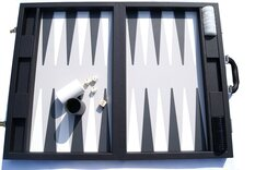 Tournament Size Backgammon Sets With Disk Storage