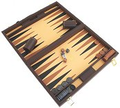 Italfama Compact Brown Leatherette Backgammon Case