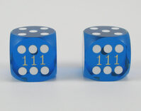16mm Precision Backgammon Dice by Koplow (pair, dark blue / white)