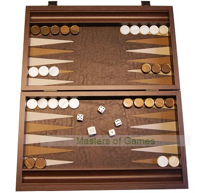 Manopoulos Compact Antique Brown Leatherette Backgammon Set