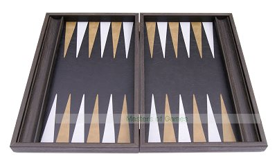 Manopoulos Vintage Black Leatherette Backgammon Set