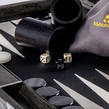 Manopoulos Classic Black Leatherette Backgammon Set (19-inch)