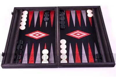 Manopoulos Argento Oak & Maple Backgammon Set