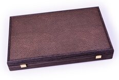 Manopoulos Mocha Brown Leatherette Backgammon Set (19-inch)