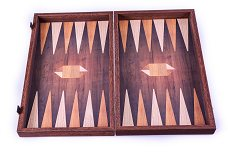 Manopoulos Geometrical Wood Motif Backgammon Set