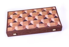 Manopoulos Geometrical Wood Motif 19-inch Backgammon Set