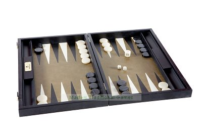 Manopoulos Green Leatherette Backgammon Set