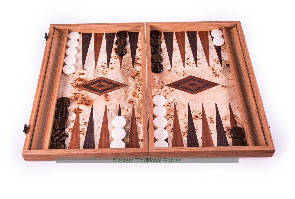 Manopoulos Lupo Burl Backgammon Set