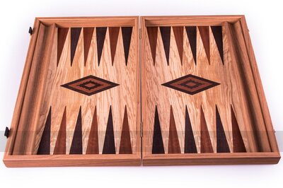 Manopoulos Olive Wood Backgammon Set