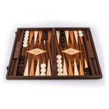 Manopoulos Palisander Burl Backgammon Set with Inlaid Points