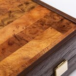 Manopoulos Palisander Burl Backgammon Set, Cherry & Oak Points