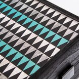 Manopoulos Turquoise Geometric Shapes 19-inch Backgammon Set