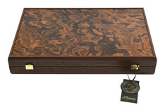 Manopoulos Dark Walnut Burl Backgammon Set