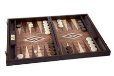 Manopoulos Walnut Burl Backgammon Set