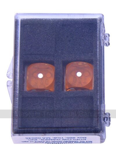 16mm Precision Backgammon Dice by Koplow (pair, amber / white)