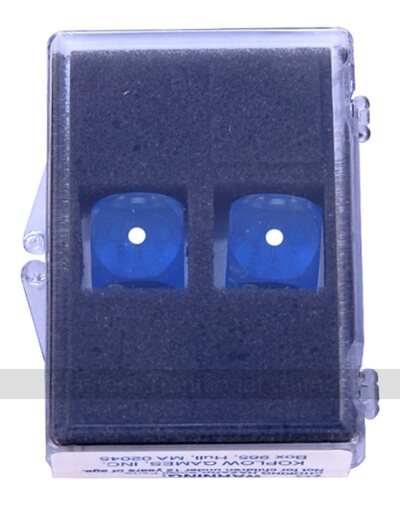 16mm Precision Backgammon Dice by Koplow (pair, blue / white)