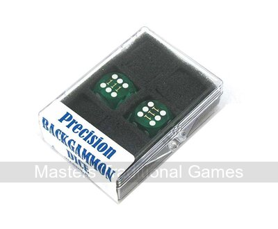 16mm Precision Backgammon Dice by Koplow (pair, green / white)