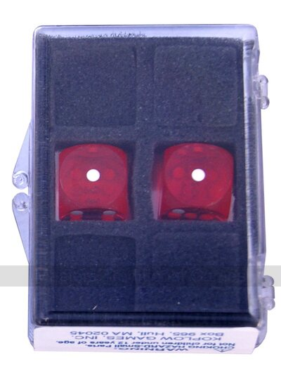 16mm Precision Backgammon Dice by Koplow (pair, red / white)