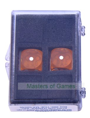 16mm Precision Backgammon Dice by Koplow (pair, yellow / white)