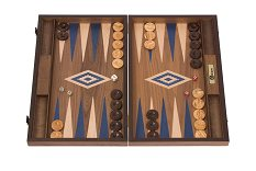 Uber Walnut Backgammon Set - Blue