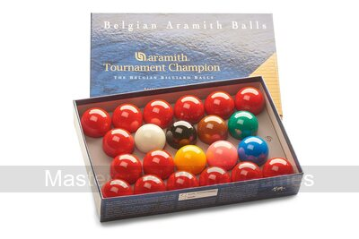 Aramith Tournament Champion Snooker Balls (2 & 1/16 inch, 52.5mm, with 15 reds)