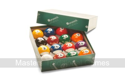 Aramith Premier Engraved Pool Balls - 2 & 1/16 inch - Spots & Stripes