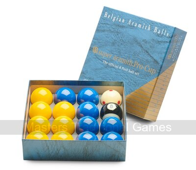 Super Aramith Pro Cup League Pool Balls - Blue & Yellow (2 inch with 1 7/8 inch white)