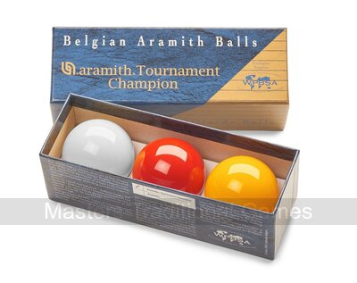 Set of Tournament Champion Aramith Billiard Balls (with Yellow, 2 & 1/16 inch, 52.5mm)