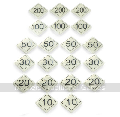 Set of 20 Bar Billiards Table Numbers (plastic diamond shaped for tables with 2 x 30 and 1 x 10 holes)