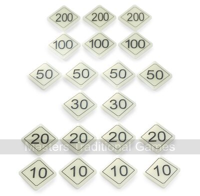 Set of 20 Bar Billiards Table Numbers (plastic diamond shaped for tables with 1 x 30 and 2 x 10 holes)